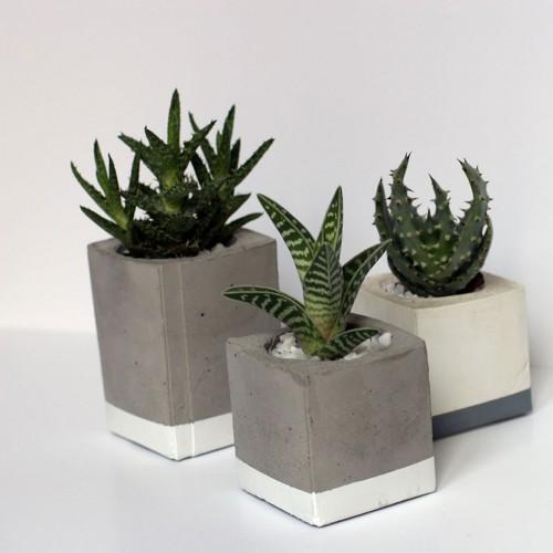 Set de 3 pots béton & ciment