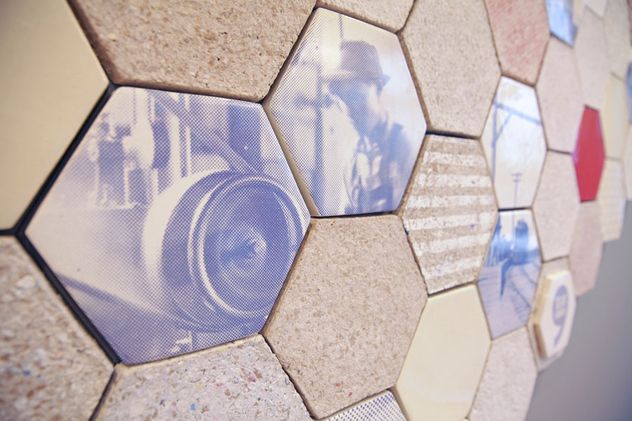 © Wallpapering Tiles made from recycled paper by Dear Human