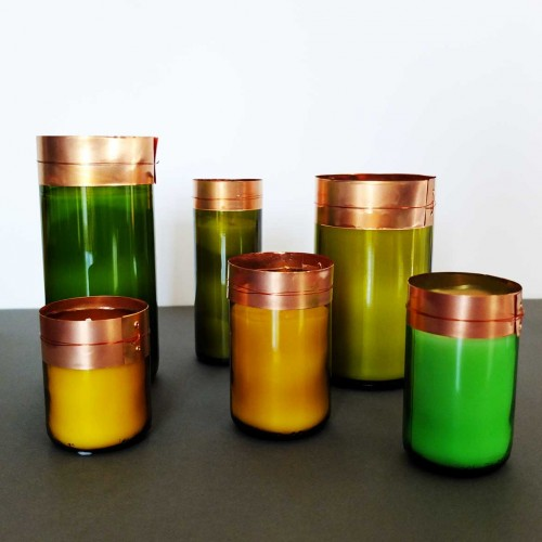 Set de 6 bougies verre cuivre
