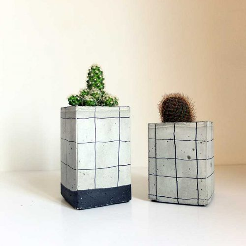 Set de 2 pots béton grid
