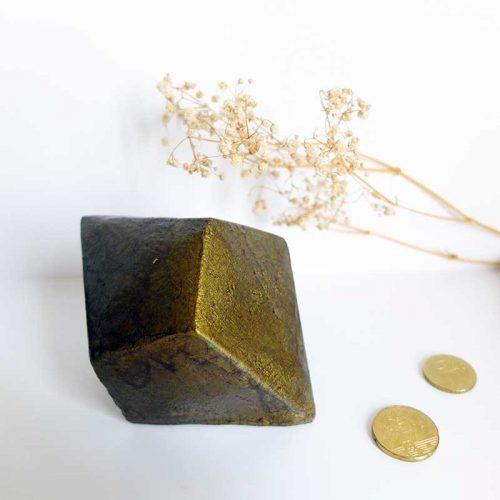 Presse-papiers diamant faïencé bronze