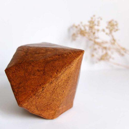 Presse-papiers diamant faïencé cuivre