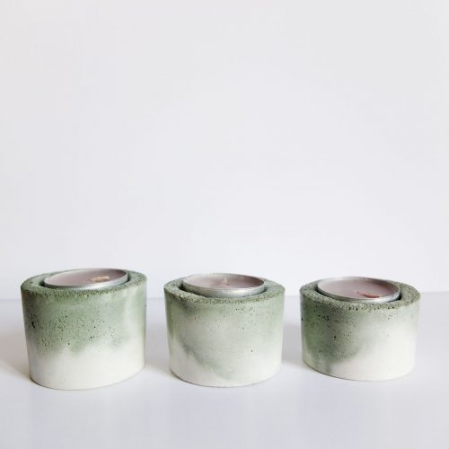 Set de 3 bougeoirs béton marbré vert -blanc