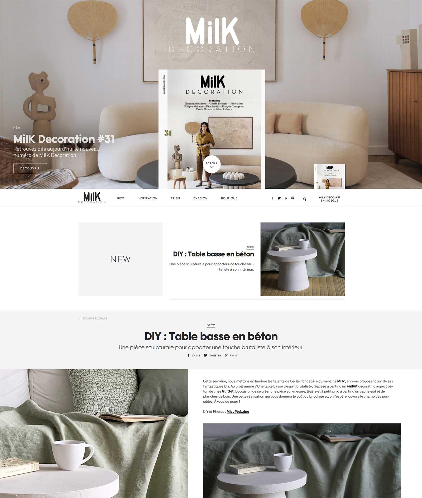 Misc Webzine dans Milk Décoration